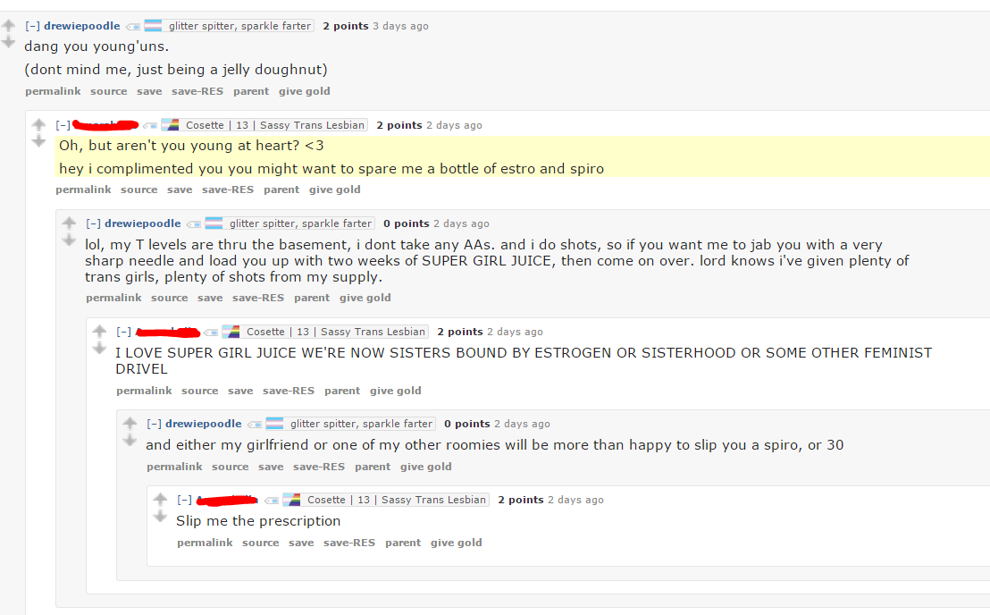 42 year old mod of /r/genderqueer offering prescription hormones to 13 year  old. Telling them to come to his apartment and pick them up.