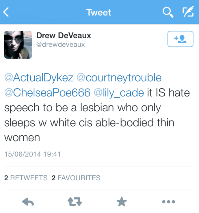 being a lesbian is hate speech