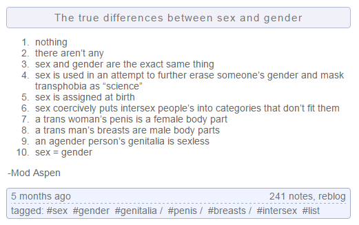 sex and gender are the same